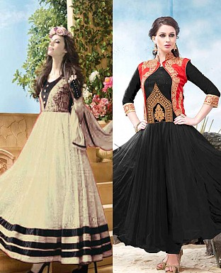 THANKAR COMBO ONE CREAM ANARKALI SUIT AND BLACK DESIGNER ANARKALI SUIT @ Rs1977.00