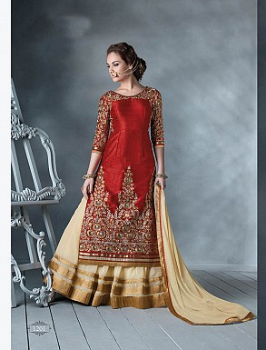 THANKAR LATEST DESIGNER HEAVY RED AND CREAM EMBROIDERY INDO WESTERN STYLE STRAITE SUIT @ Rs4449.00
