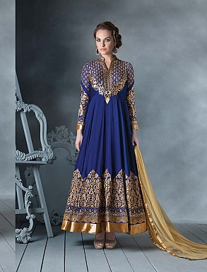 THANKAR LATEST DESIGNER BLUE LONG SLEEVE ANARKALI SUIT @ Rs4449.00