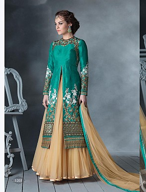THANKAR LATEST DESIGNER HEAVY AQUA AND CREAM EMBROIDERY INDO WESTERN STYLE STRAITE SUIT @ Rs4449.00