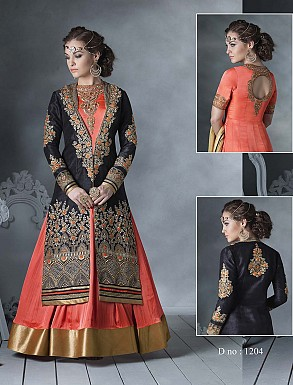 THANKAR LATEST DESIGNER HEAVY ORANGE AND BLACK EMBROIDERY INDO WESTERN STYLE ANARKALI SUIT @ Rs4449.00