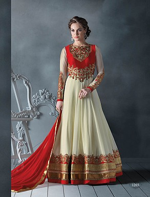 THANKAR LATEST DESIGNER OFF WHITE & RED LONG SLEEVE ANARKALI SUIT @ Rs4449.00