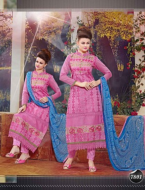 THANKAR NEW DESIGNER PINK AND BLUE STRAIGHT SUIT @ Rs1173.00