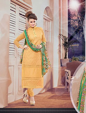 THANKAR NEW DESIGNER YELLOW AND GREEN STRAIGHT SUIT @ Rs1173.00