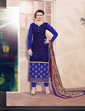 THANKAR NEW DESIGNER BLUE STRAIGHT SUIT @ Rs1173.00