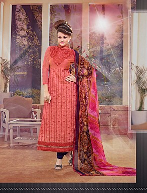 THANKAR NEW DESIGNER PEACHAND NAVY BLUE STRAIGHT SUIT @ Rs1173.00