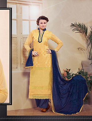 THANKAR NEW DESIGNER CREAM & BLUE STRAIGHT SUIT @ Rs1173.00