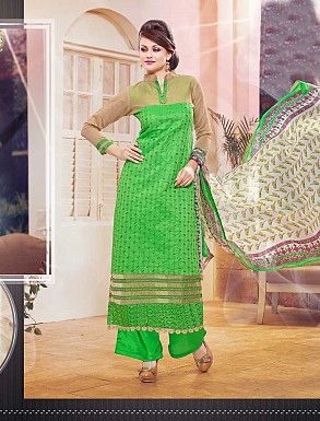 THANKAR NEW DESIGNER GREEN STRAIGHT SUIT @ Rs1173.00