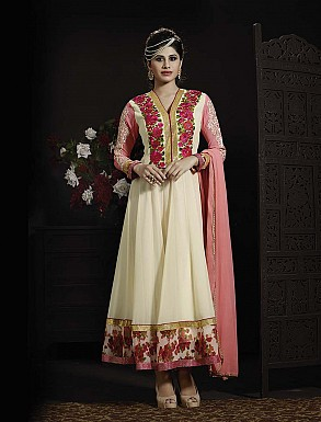 THANKAR LATEST EMBROIDERED DESIGNER WHITE AND PINK ANARKALI SUITS @ Rs3336.00