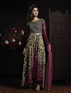 THANKAR LATEST EMBROIDERED DESIGNER BEIGE AND PINK ANARKALI SUITS @ Rs3275.00