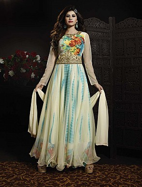 THANKAR LATEST EMBROIDERED DESIGNER OFF WHITE ANARKALI SUITS @ Rs3336.00