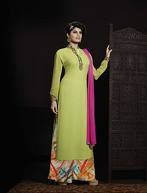 THANKAR LATEST EMBROIDERED DESIGNER PARROT AND PINK ANARKALI SUITS @ Rs2471.00