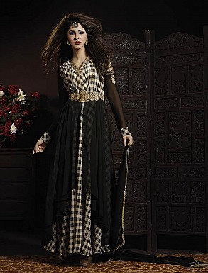 THANKAR LATEST EMBROIDERED DESIGNER BLACK ANARKALI SUITS @ Rs3089.00