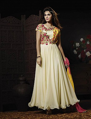 THANKAR LATEST EMBROIDERED DESIGNER OFF WHITE ANARKALI SUITS @ Rs3522.00