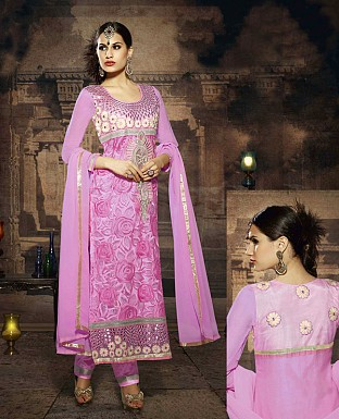 LATEST EMBROIDERED DESIGNER PINK STRAIGHT SUITS @ Rs2039.00