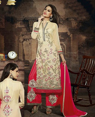LATEST EMBROIDERED DESIGNER CREAM AND RED STRAIGHT SUITS @ Rs2039.00