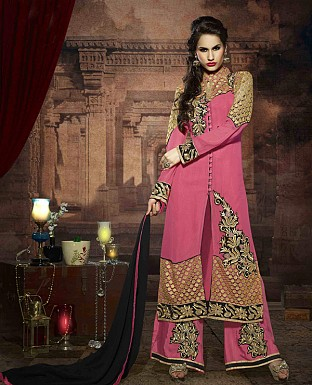 LATEST EMBROIDERED DESIGNER DEEP PINK STRAIGHT SUITS @ Rs2039.00