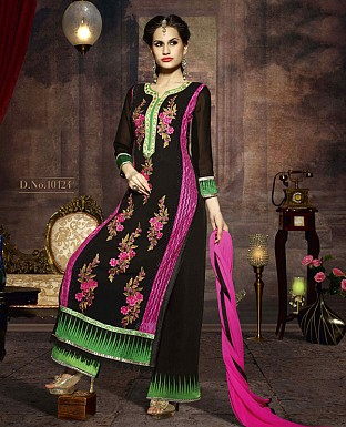 LATEST EMBROIDERED DESIGNER BLACK AND PINK STRAIGHT SUITS @ Rs2039.00
