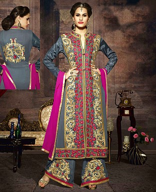 LATEST EMBROIDERED DESIGNER GREY AND PINK STRAIGHT SUITS @ Rs2039.00