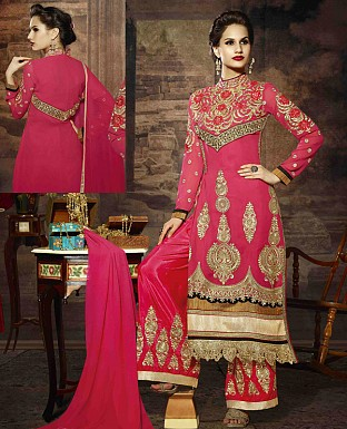 LATEST EMBROIDERED DESIGNER PEACH STRAIGHT SUITS @ Rs2039.00