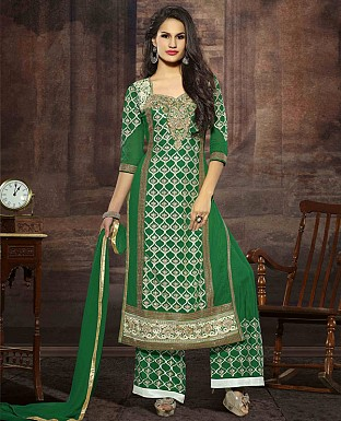 LATEST EMBROIDERED DESIGNER GREEN STRAIGHT SUITS @ Rs2039.00