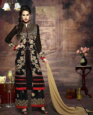 LATEST EMBROIDERED DESIGNER BLACK AND CREAM STRAIGHT SUITS @ Rs2039.00