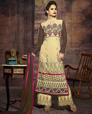 LATEST EMBROIDERED DESIGNER CREAM AND BROWN STRAIGHT SUITS @ Rs2039.00