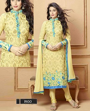 NEW DESIGNER YELLOW STRAIGHT SUIT @ Rs1112.00
