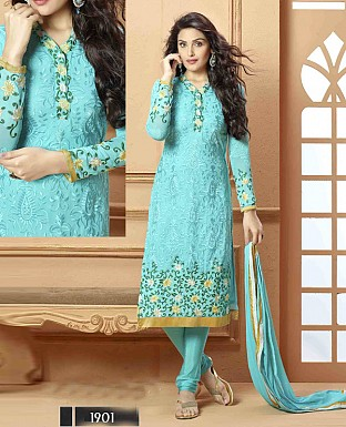 NEW DESIGNER AQUA STRAIGHT SUIT @ Rs1112.00
