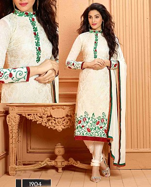 NEW DESIGNER WHITE STRAIGHT SUIT @ Rs1112.00