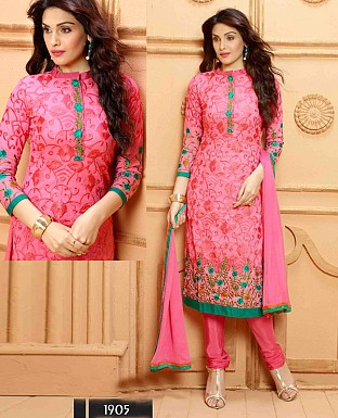 NEW DESIGNER PINK STRAIGHT SUIT @ Rs1112.00