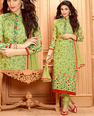 NEW DESIGNER GREEN STRAIGHT SUIT @ Rs1112.00