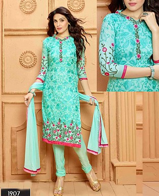 NEW DESIGNER SKY STRAIGHT SUIT @ Rs1112.00