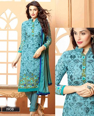 NEW DESIGNER BLUE STRAIGHT SUIT @ Rs1112.00