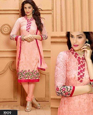 NEW DESIGNER LIGHT PINK STRAIGHT SUIT @ Rs1112.00