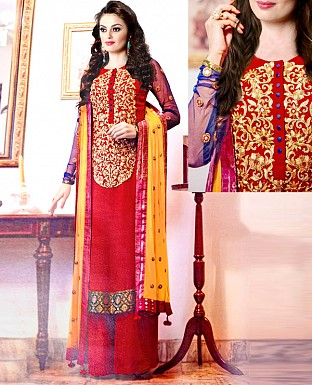 NEW DESIGNER RED & YELLOW HEAVY STRAIGHT SUIT @ Rs1544.00