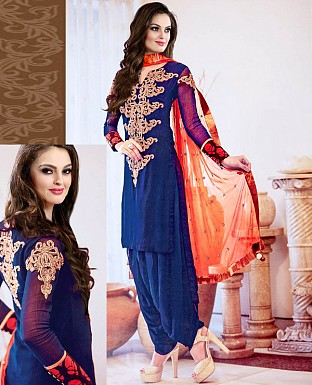 NEW DESIGNER BLUE & ORANGE HEAVY STRAIGHT SUIT @ Rs1544.00
