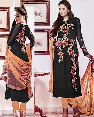 NEW DESIGNER BLACK & CREAM HEAVY STRAIGHT SUIT @ Rs2100.00