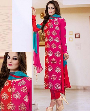 NEW DESIGNER PINK & RED HEAVY STRAIGHT SUIT @ Rs2100.00