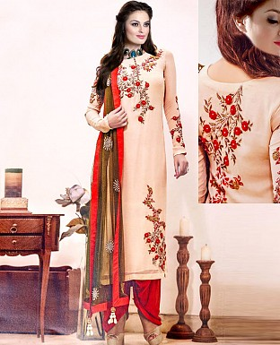 NEW DESIGNER CREAM & RED HEAVY STRAIGHT SUIT @ Rs2100.00