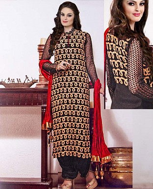 NEW DESIGNER BLACK & RED HEAVY STRAIGHT SUIT @ Rs2100.00