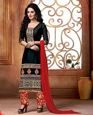 NEW DESIGNER BLACK AND RED STRAIGHT SUIT @ Rs1421.00