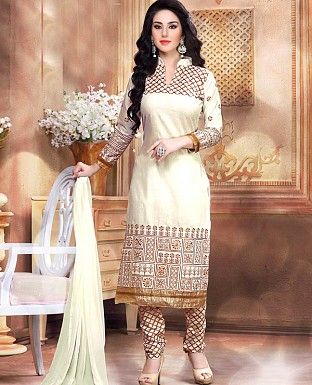 NEW DESIGNER OFF WHITE STRAIGHT SUIT @ Rs1421.00
