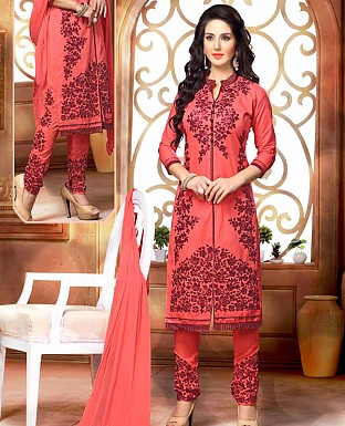 NEW DESIGNER PEACH STRAIGHT SUIT @ Rs1421.00