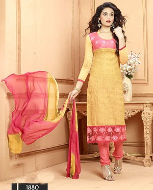 NEW DESIGNER YELLOW AND PEACH STRAIGHT SUIT @ Rs1606.00