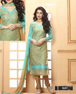 NEW DESIGNER AQUA AND BROWN STRAIGHT SUIT @ Rs1606.00