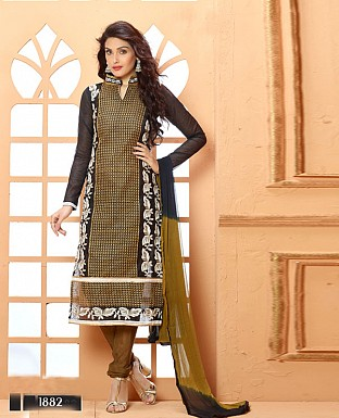 NEW DESIGNER BLACK AND BROWN STRAIGHT SUIT @ Rs1606.00