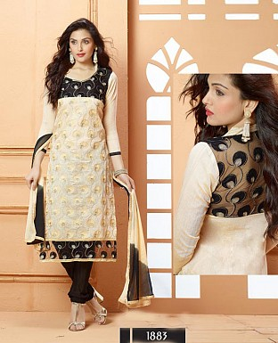 NEW DESIGNER OFF WHITE AND BLACK STRAIGHT SUIT @ Rs1606.00