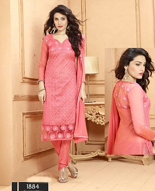 NEW DESIGNER PEACH STRAIGHT SUIT @ Rs1606.00