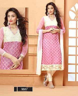 NEW DESIGNER PURPLE AND CREAM STRAIGHT SUIT @ Rs1606.00